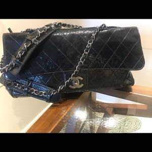CHANEL RITZ FLAP QUILTED BLACK PATENT LARGE PURSE